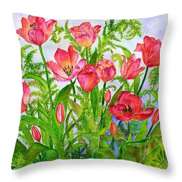 Tulips And Lacy Ferns Throw Pillow