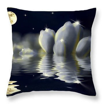 Tulips And Moon Reflection Throw Pillow