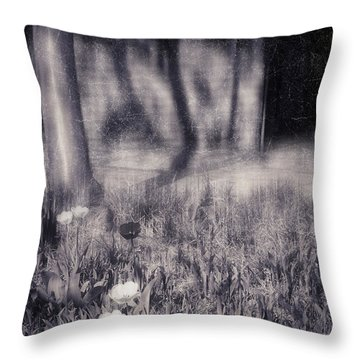 Tulips And Tree Shadow Throw Pillow by Silvia Ganora