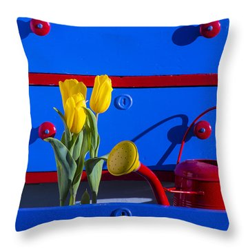 Tulips And Watering Can  Throw Pillow