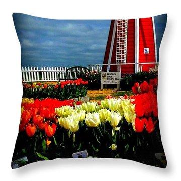 Tulips And Windmill Throw Pillow by Susan Garren