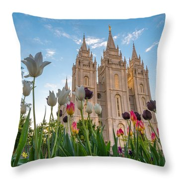 Tulips At The Temple Throw Pillow