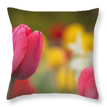 Tulips Blooming Throw Pillow by Rima Biswas