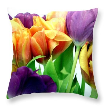 Tulips Bouquet Throw Pillow