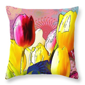 Tulips Throw Pillow by Christo Christov