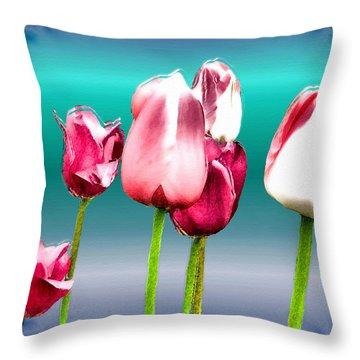Throw Pillow featuring the digital art Tulips by Daniel Janda
