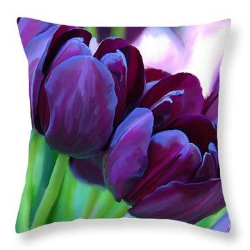 Tulips-dark-purple Throw Pillow
