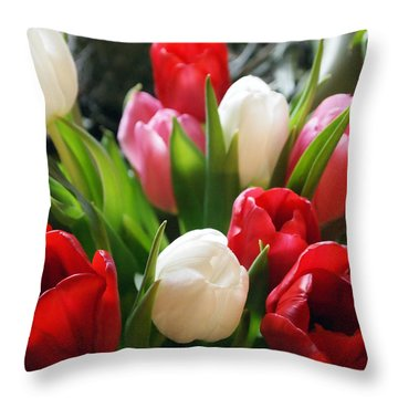 Throw Pillow featuring the photograph Tulips by Deborah Fay