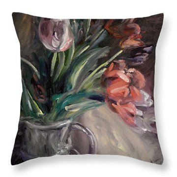 Throw Pillow featuring the painting Tulips by Donna Tuten