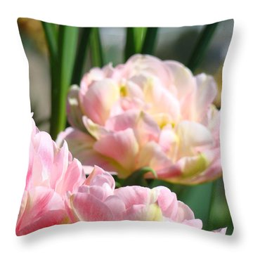 Tulips Flowers Garden Art Prints Pink Tulip Floral Throw Pillow by Baslee Troutman
