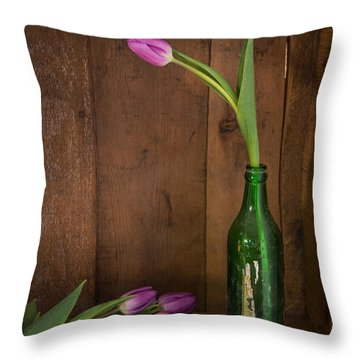 Tulips Green Bottle Throw Pillow