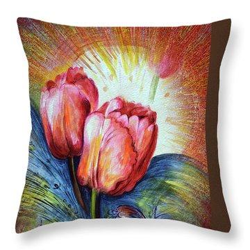 Tulips Throw Pillow by Harsh Malik