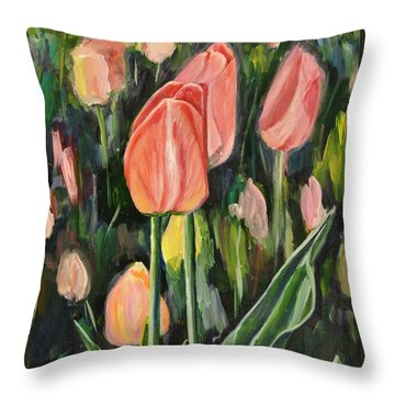 Tulips Throw Pillow by Heather Kertzer