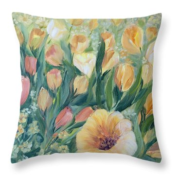 Tulips I Throw Pillow by Joanne Smoley