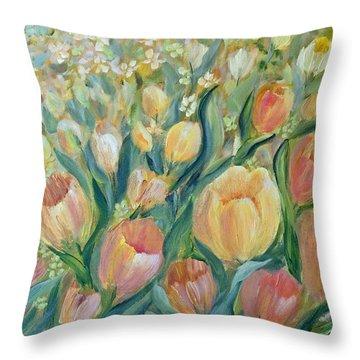 Tulips II Throw Pillow by Joanne Smoley