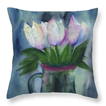 Tulips In A Beer Mug Throw Pillow