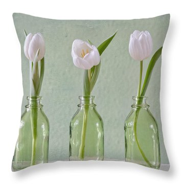 Tulips In A Bottle Throw Pillow