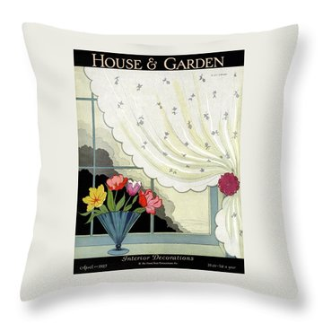 Tulips In A Fan-shaped Vase On A Window Sill Throw Pillow