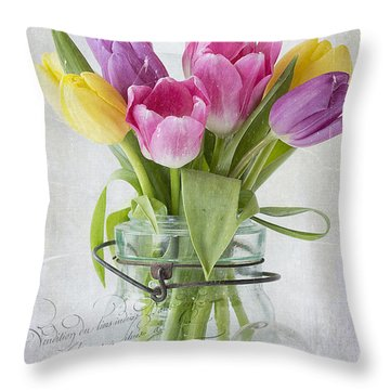 Tulips In A Jar Throw Pillow
