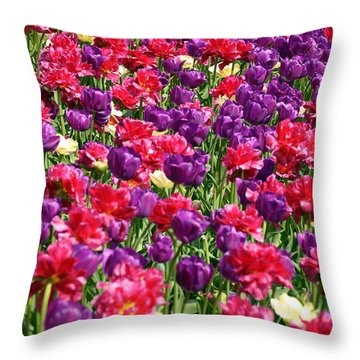 Tulips In A Meadow Throw Pillow