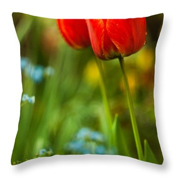 Tulips In Garden Throw Pillow