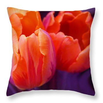 Tulips In Orange And Purple Throw Pillow by Jennie Marie Schell