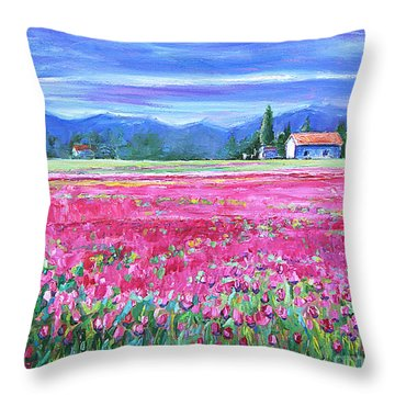 Tulips In Spring Throw Pillow by Jennifer Beaudet