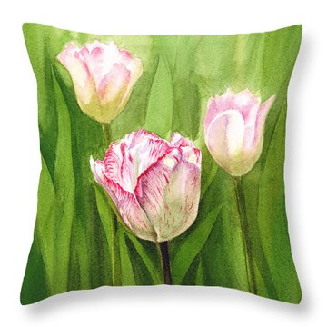 Tulips In The Fog Throw Pillow