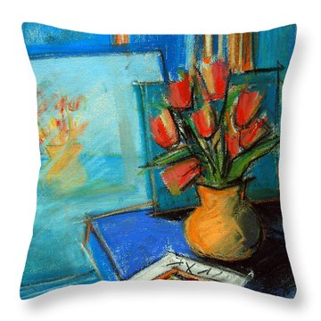 Tulips In The Mirror Throw Pillow by Mona Edulesco
