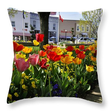Throw Pillow featuring the photograph Tulips In The Spring by Nava Thompson