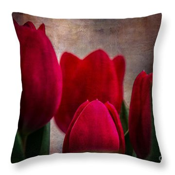 Tulips Throw Pillow by Judy Wolinsky