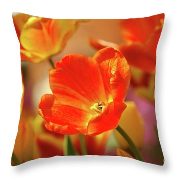 Tulips Throw Pillow by Kathleen Struckle