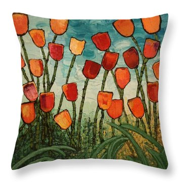 Tulips Throw Pillow by Linda Bailey