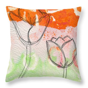 Tulips Throw Pillow by Linda Woods