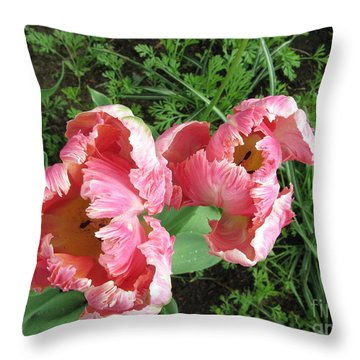 Tulips Throw Pillow by Marlene Rose Besso