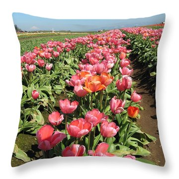 Tulips Mt Hood Throw Pillow by Marlene Rose Besso