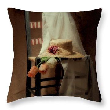 Tulips On A Chair Throw Pillow