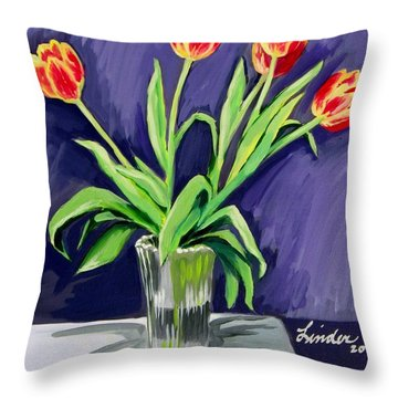 Tulips On The Table Throw Pillow
