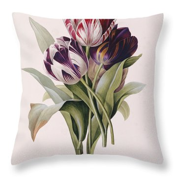 Tulips Throw Pillow by Pierre Joseph Redoute