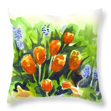 Tulips With Blue Grape Hyacinths Explosion Throw Pillow by Kip DeVore