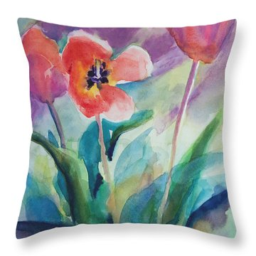 Tulips With Lavender Throw Pillow