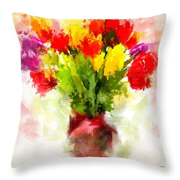 Tulips With Love Throw Pillow by Lourry Legarde