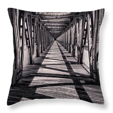 Tulsa Pedestrian Bridge In Black And White Throw Pillow