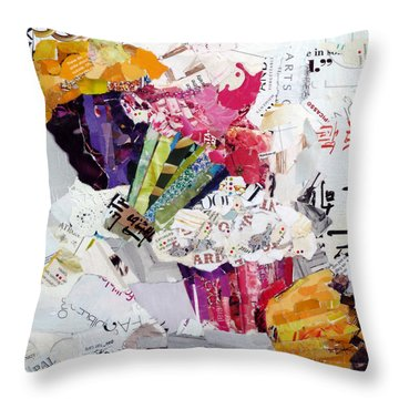 Tumbling Cupcakes Throw Pillow by Suzy Pal Powell