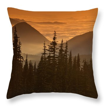 Throw Pillow featuring the photograph Tumtum Peak At Sunset by Jeff Goulden