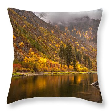 Tumwater Canyon Fall Serenity Throw Pillow by Mike Reid
