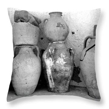 Throw Pillow featuring the photograph Tunisian Pottery by Randi Grace Nilsberg