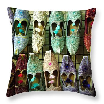 Throw Pillow featuring the photograph Tunisian Shoes by Donna Corless