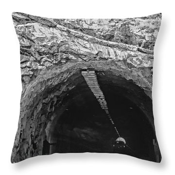 Tunnel At Yosemite In Black And White Throw Pillow