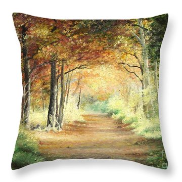 Throw Pillow featuring the painting Tunnel In Wood by Sorin Apostolescu